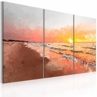 Schilderij - Baltische zee , oranje grijs , 3 luik