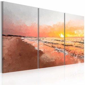 Schilderij - Baltische zee , oranje grijs , 3 luik , 2 maten
