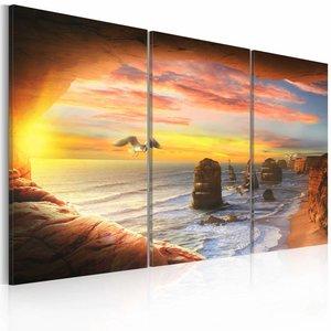 Schilderij - Strand paradijs  , oranje blauw , 3 luik , 2 maten