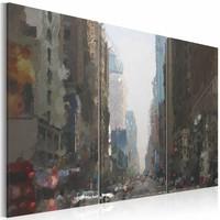 Schilderij - New York in de regen , 3 luik