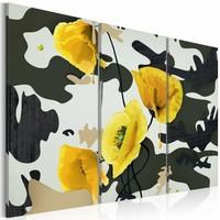 Schilderij - Gele klaprozen op schilderij ,3 luik