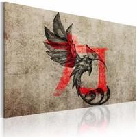 Schilderij - Geboorte van de draak , rood zwart beige , 1 luik
