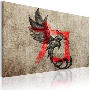 Schilderij - Geboorte van de draak , rood zwart beige , 1 luik , 2 maten