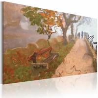 Schilderij - Herfst promenade , groen beige