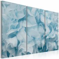 Schilderij - Azalea in blauw , 3 luik , 2 maten