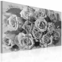Schilderij - Twaalf rozen - triptiek , grijs wit , 3 luik