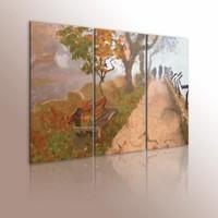 Schilderij - Herfstachtig promenade  , groen beige , 3 luik