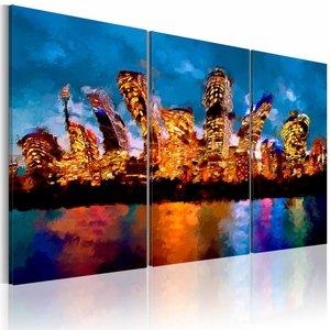 Schilderij - Gekke stad  , oranje blauw , 3 luik , 2 maten