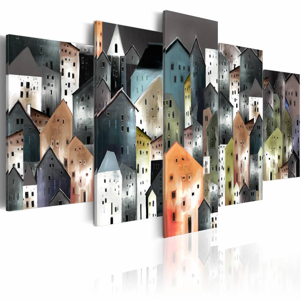 Schilderij - Vrolijk dorp , grijs , oranje , 5 luik