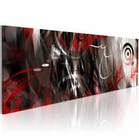 Schilderij - Avant-garde , rood grijs , 1 luik , 120x40