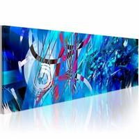 Schilderij - Turquoise regen , blauw , 1 luik , 120x40