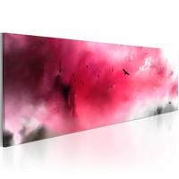 Schilderij - Spookkasteel , roze grijs, 1 luik , 120x40