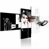 Schilderij - Futurist ,zwart wit ,  4 luik