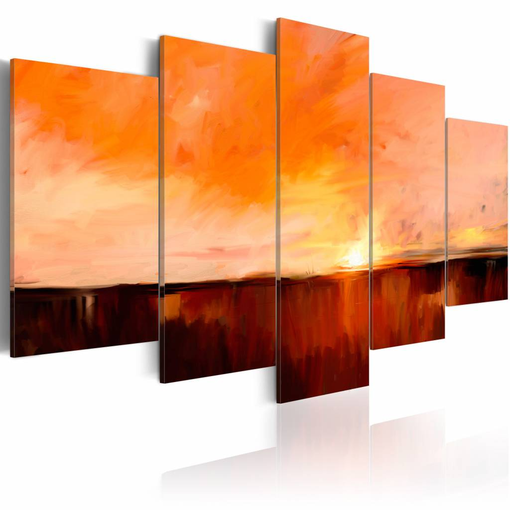 Schilderij - Hitte in augustus , oranje , 5 luik