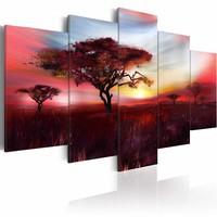 Schilderij - Wilde Savanne , rood grijs, 5 luik
