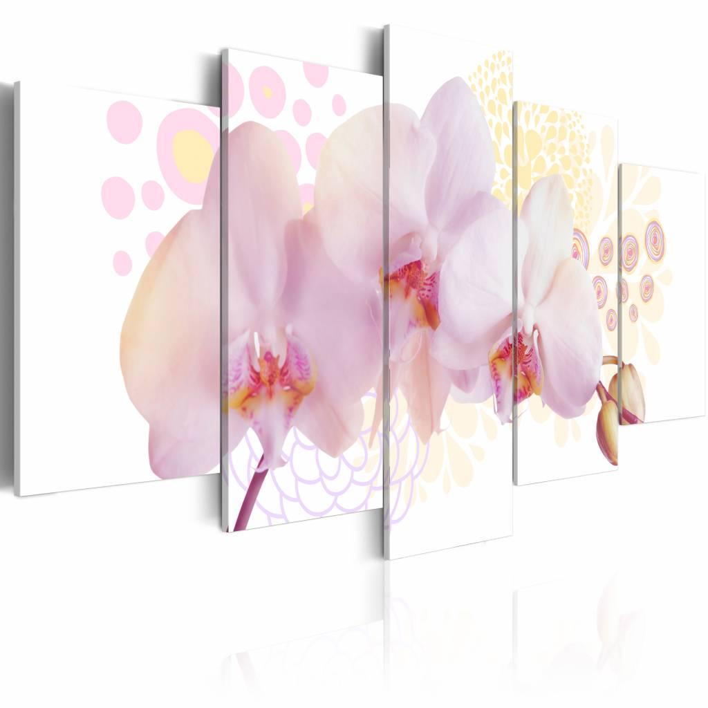 Schilderij - Delicate Orchidee , wit roze , 5 luik