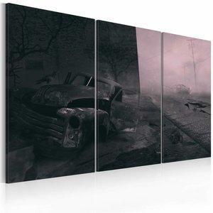 Schilderij - Verlaten straat , roze zwart , 3 luik