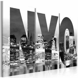 Schilderij - New York (zwart en wit), NYC , 3 luik , 2 maten