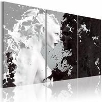 Schilderij - Vrouw abstract , zwart wit , 3 luik , 2 maten