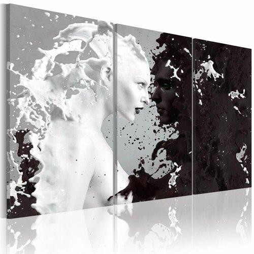 Wonderlijk Schilderij - Vrouw abstract , zwart wit , 3 luik - Karo-art VOF EI-43