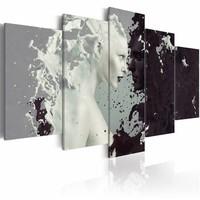Schilderij - Vrouw abstract  , zwart wit , 5 luik , 2 maten