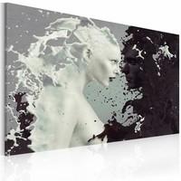 Schilderij - Vrouw abstract , zwart wit , 1 luik