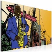Schilderij - Jazz, Saxofoon , geel blauw oranje, 3 luik