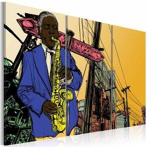 Schilderij - Jazz, Saxofoon , geel blauw oranje, 3 luik , 2 maten