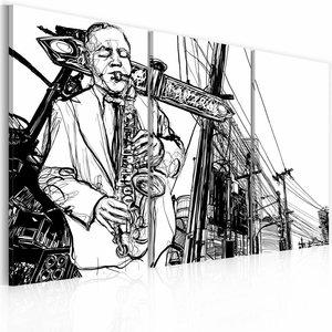 Schilderij - Jazz, Saxofoon , zwart wit , 3 luik , 2 maten