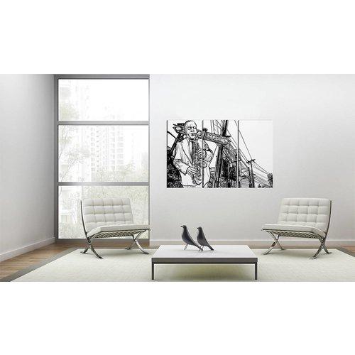 Schilderij - Jazz, Saxofoon , zwart wit , 3 luik