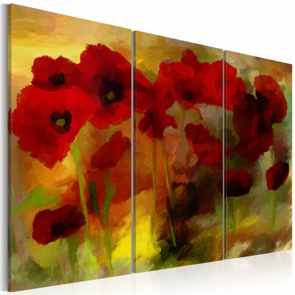 Schilderij - Sublieme klaprozen , geel rood , 3 luik