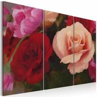 Schilderij - Perfectie op canvas, rozen , roze rood , 3 luik