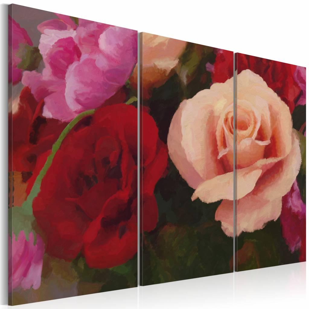 Schilderij - Perfectie op canvas, rozen , roze rood , 3 luik - 90X60 cm