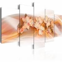 Schilderij - Orchidee - decoratie voor in huis , wit oranje , 5 luik