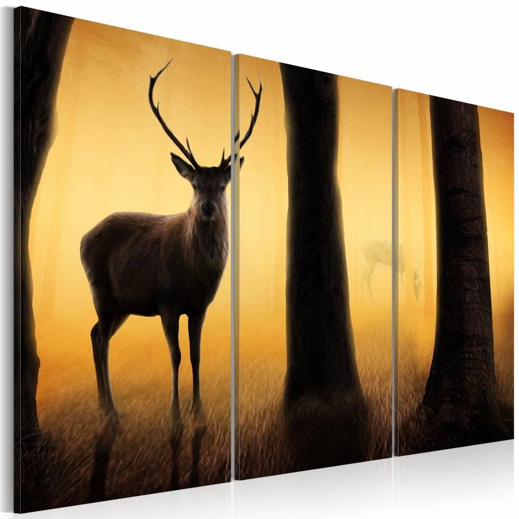 Schilderij - Hert , zwart oranje , boom , 3 luik