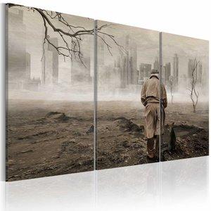 Schilderij - Eenzaamheid , man , stad , bruin  grijs , 3 luik , 2 maten