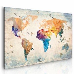 Schilderij - Vrij als een vogel, wereldkaart , multi kleur , 1 luik , 2 maten