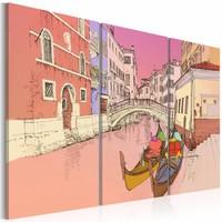 Schilderij - Romantische gondels, Venetië , roze geel , 3 luik