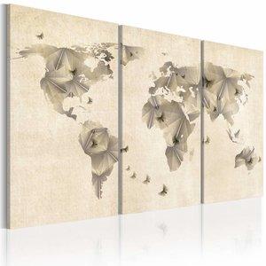 Schilderij - Atlas van vlinders - wereldkaart 3 luik , beige , 2 maten