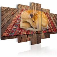 Schilderij - Hertje bij u thuis , beige bruin , hout look , 5 luik