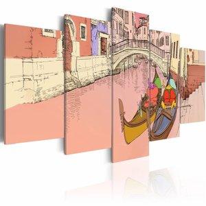 Schilderij - Gondels, Venetië , roze geel , 5 luik , 2 maten