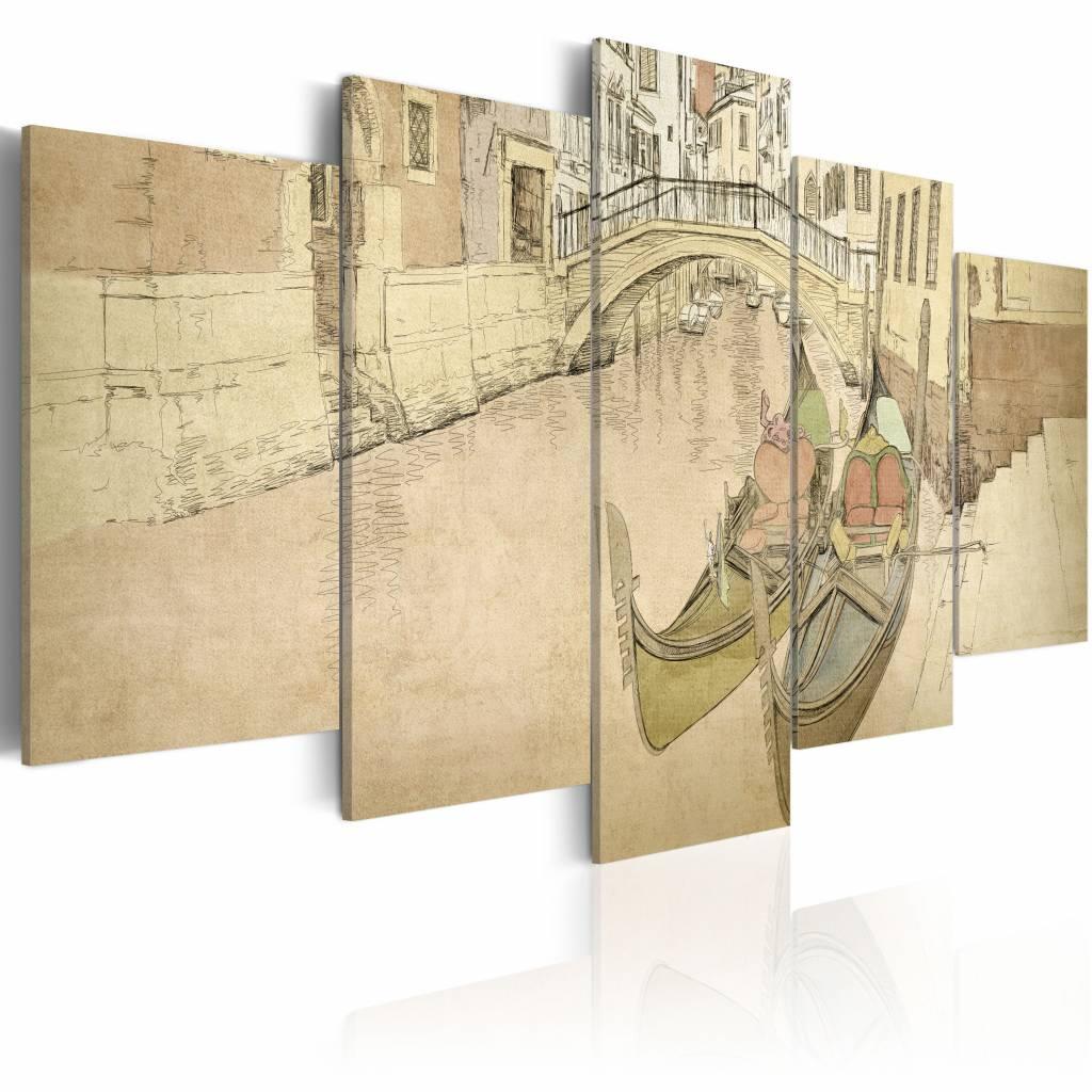Schilderij - Veneti� , gondel , 5 luik , beige