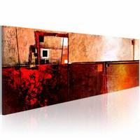 Schilderij - In het rood  , beige , abstract , 1 luik , 120x40