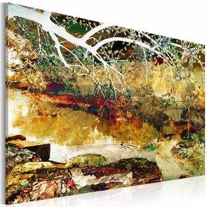 Schilderij - het park: abstract , bruin groen ,  1 luik ,  2 maten