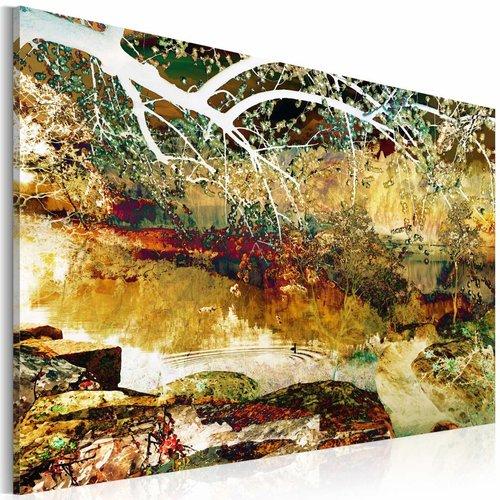 Schilderij - het park: abstract , bruin groen