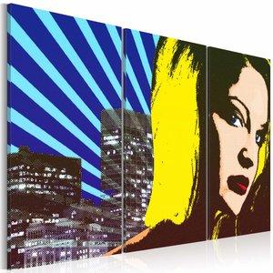 Schilderij - Lady in New York , blauw geel , 3 luik , 2 maten