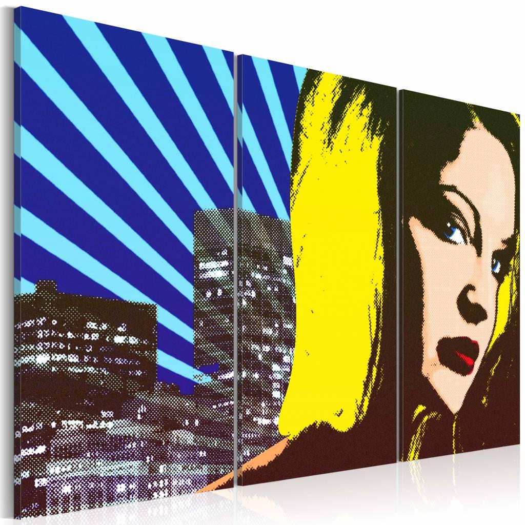 Schilderij - Lady in New York , blauw geel , 3 luik