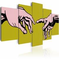 Schilderij - Vrij naar MichelAngelo , roze groen ,  handen , 5 luik