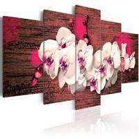 Schilderij - Blijdschap en orchidee , roze wit , 5 luik