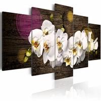 Schilderij - Als een witte wolk , paars , orchidee , 5 luik